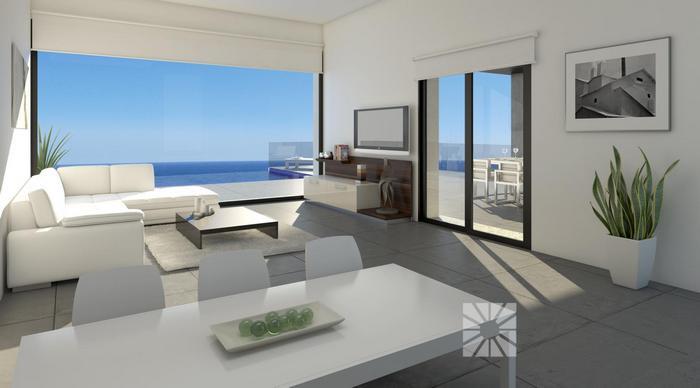 Moderne luxe villa woonkamer for Moderne luxe villa