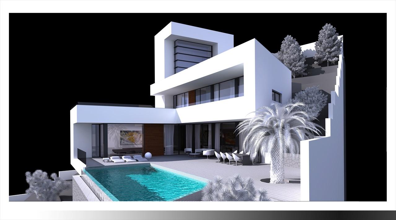 Moderne villa met zeezicht altea hills te koop spanje specials - Moderne slaapkamer met kleedkamer ...