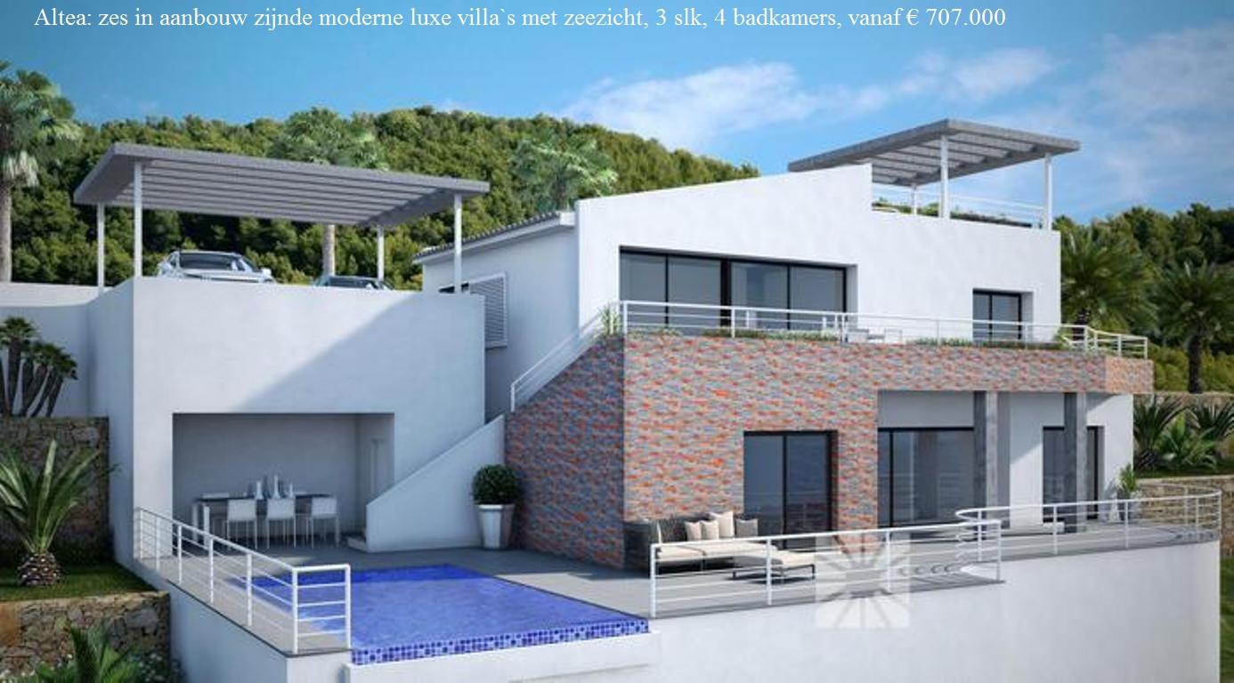 Villa De Luxe Moderne : Moderne luxe villa`s te koop met zeezicht altea spanje