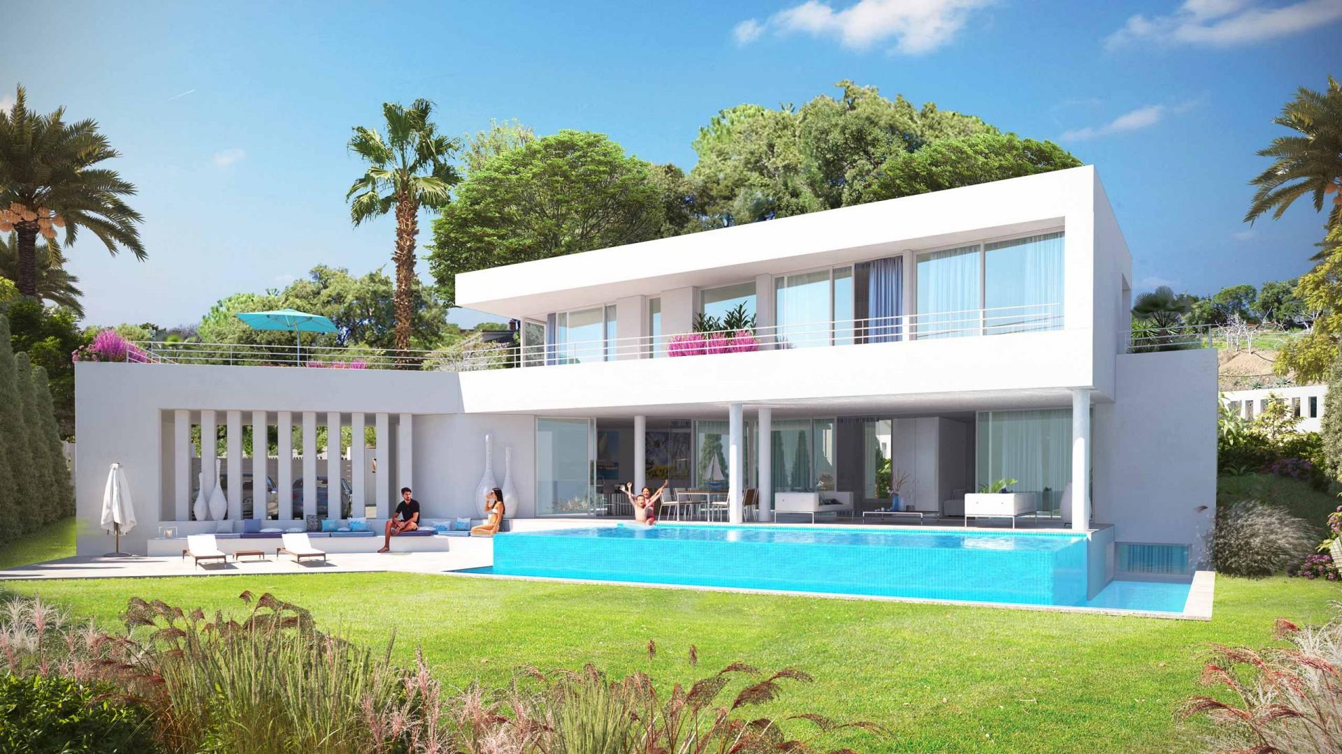Moderne luxe zeezicht villa elviria spanje specials - Moderne wasruimte ...