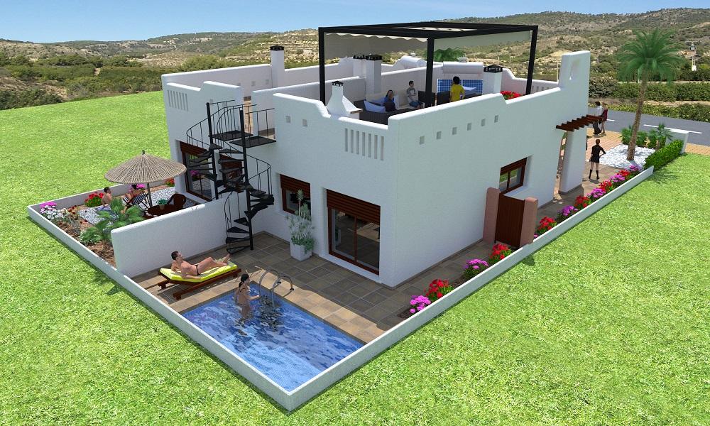 Nieuwe geschakelde woningen 300 meter strand en golf Costa Calida