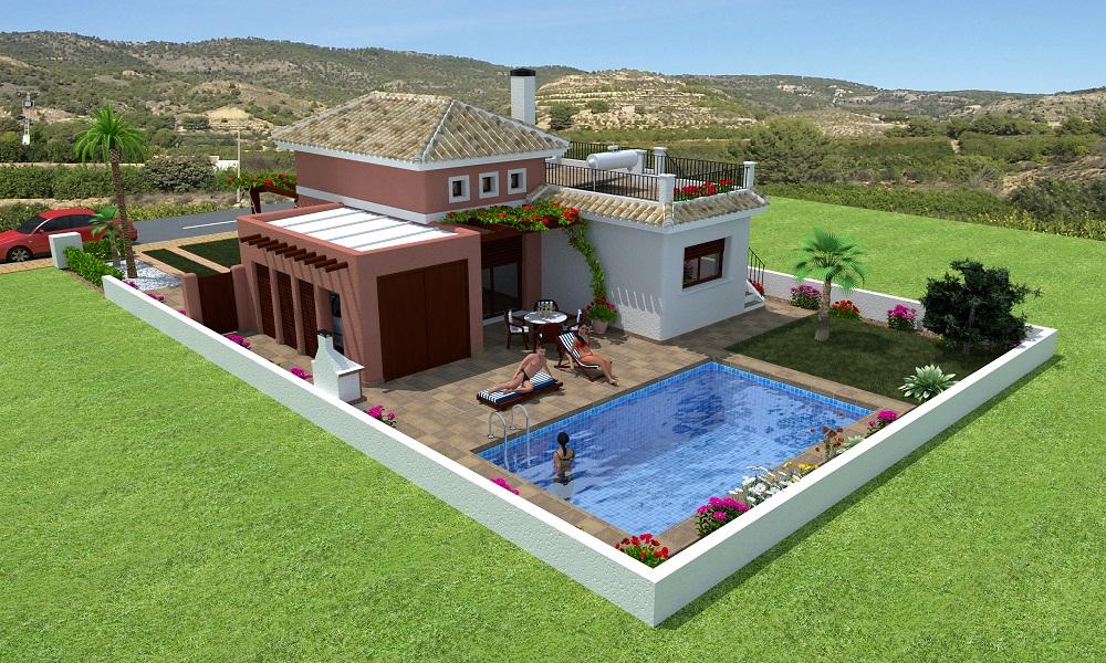 Vrijstaande villa's op 300 meter strand en golf Costa Calida