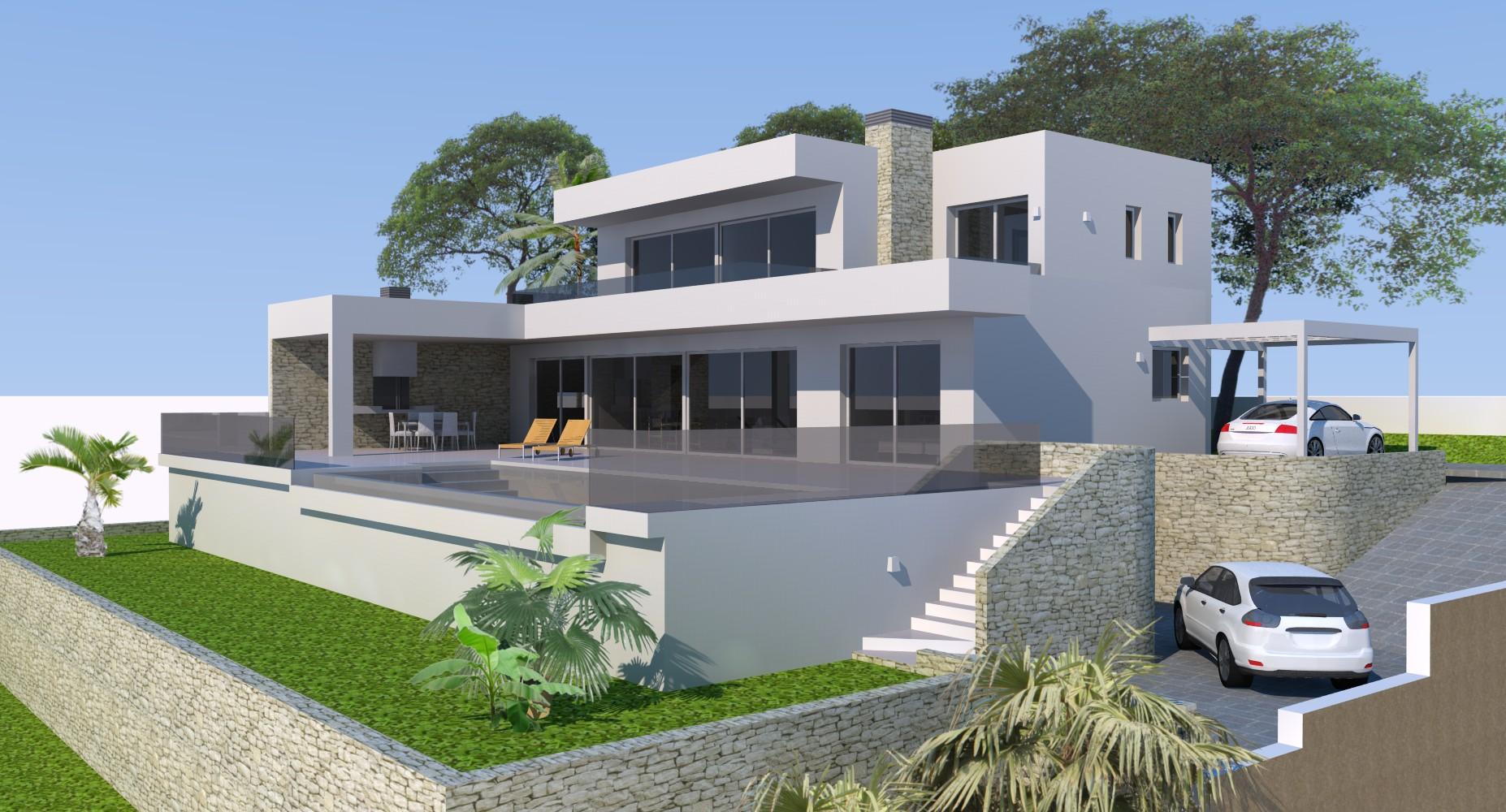 Luxe moderne villa met panoramisch zeezicht in el bosque for Moderne luxe villa