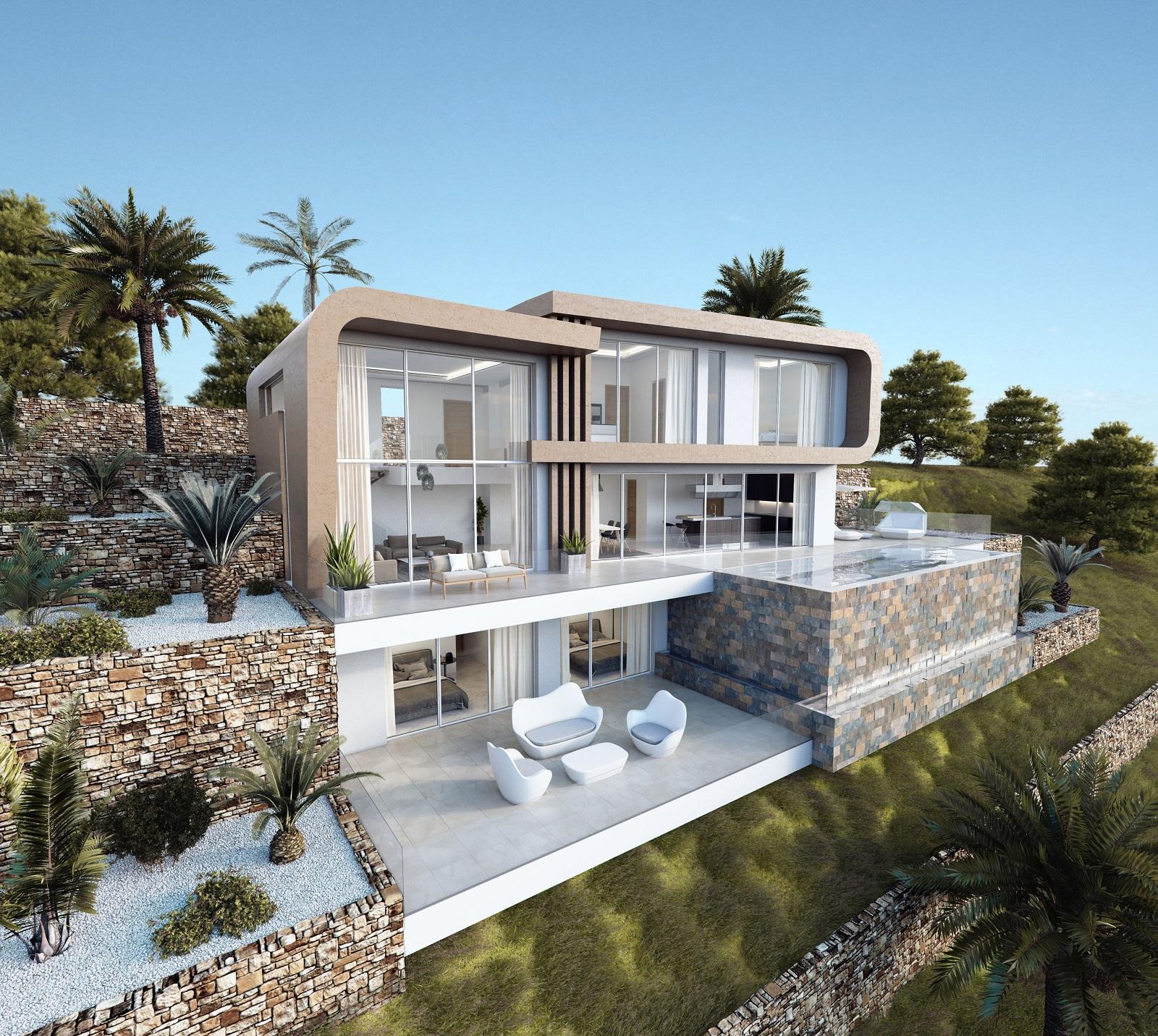Luxe moderne zeezicht villa in moraira spanje specials - Moderne entreehal ...