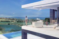 Eerste lijn golf moderne villa Estepona