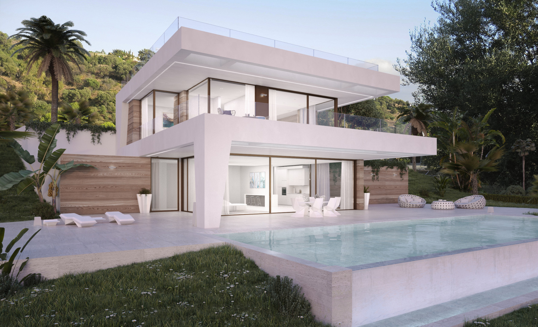 Eerste lijn golf moderne villa's New Golden Mile Estepona