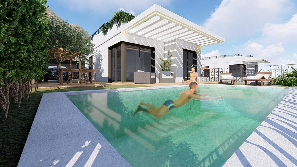 Moderne bungalows met zeezicht in Polop