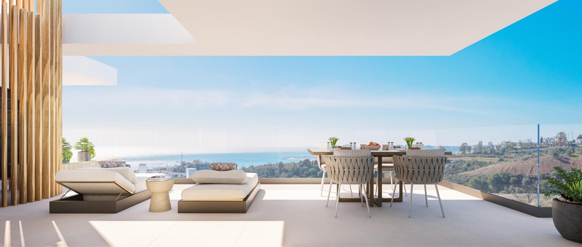 Moderne zeezicht appartementen en geschakelde woningen in Fuengirola